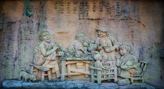 雕塑文化风景墙
